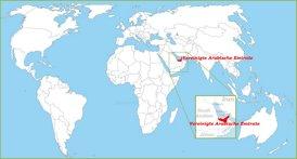 Vereinigte Arabische Emirate auf der Weltkarte