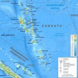 Physische landkarte von Vanuatu