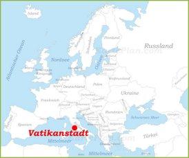 Vatikanstadt auf der karte Europas