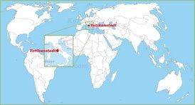 Vatikanstadt auf der Weltkarte