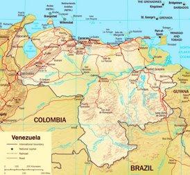 Straßenkarte von Venezuela
