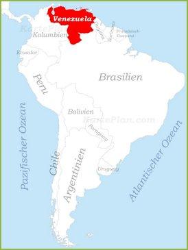 Venezuela auf der karte Südamerikas
