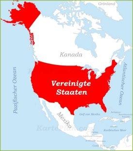 Vereinigte Staaten auf der karte Nordamerikas