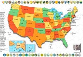Vereinigte Staaten karte mit Bundesstaaten und Hauptstädte