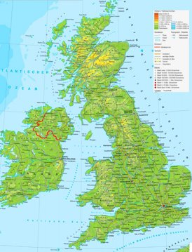 Physische landkarte von Vereinigtes Königreich