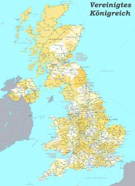 Straßenkarte von Vereinigtes Königreich