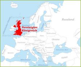 Vereinigtes Königreich auf der karte Europas