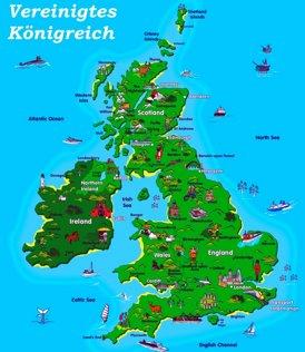 Vereinigtes Königreich touristische karte