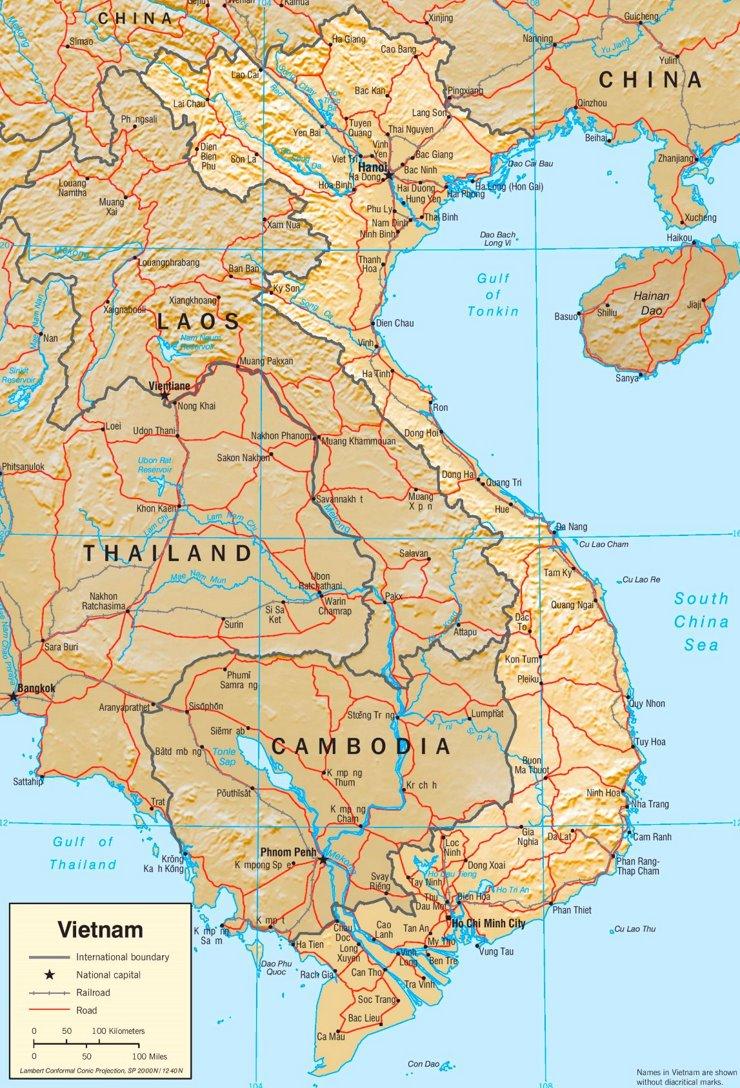 Straßenkarte von Vietnam