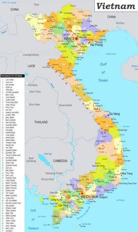 Vietnam politische karte