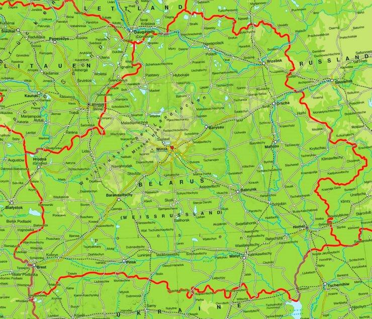 Physische landkarte von Weißrussland