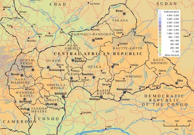 Physische landkarte von Zentralafrikanische Republik