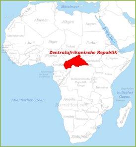 Zentralafrikanische Republik auf der karte Afrikas