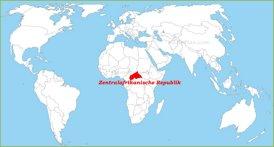 Zentralafrikanische Republik auf der Weltkarte