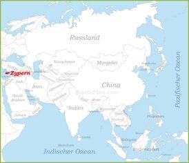 Zypern auf der karte Asiens