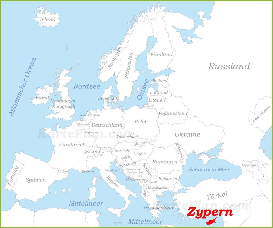 Zypern Auf Der Karte Europas